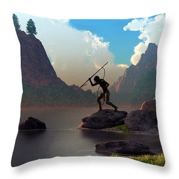 The Spear Fisher Throw Pillow by Daniel Eskridge