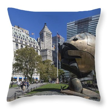 Throw Pillow featuring the photograph The Sphere Batterie Park Nyc by Juergen Held