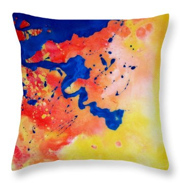 Throw Pillow featuring the painting The Spill by Mary Kay Holladay