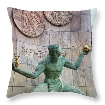 The Spirit Of Detroit Throw Pillow by Gordon Dean II