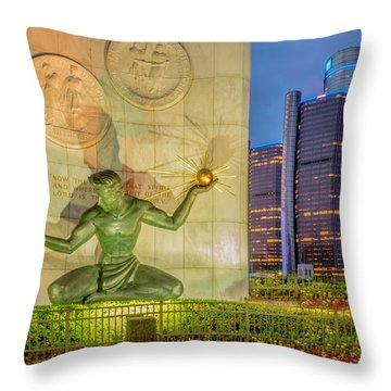 The Spirit Of Detroit  Throw Pillow