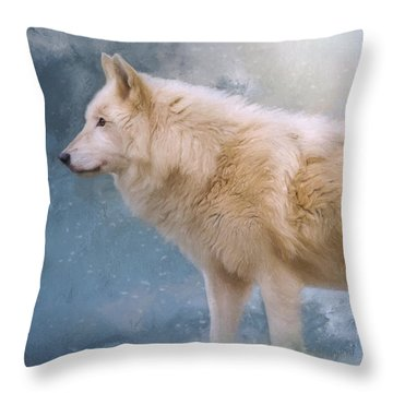 The Spirit Within - Arctic Wolf Art Throw Pillow