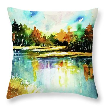 The Splendor And  Color Of Autumn Throw Pillow by Al Brown