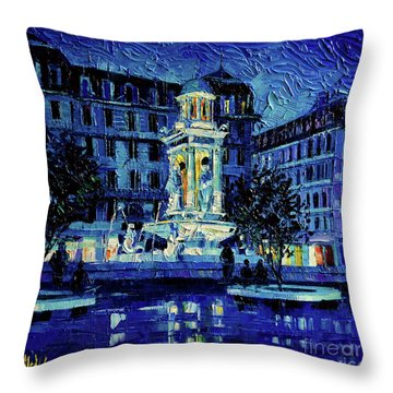 The Square Of Jacobins Illuminated - Lyon France - Modern Impressionist Palette Knife Painting Throw Pillow