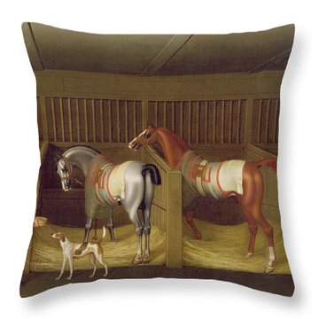 The Stables And Two Famous Running Horses Belonging To His Grace - The Duke Of Bolton Throw Pillow by James Seymour