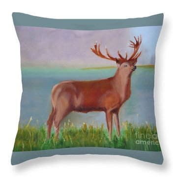 The Stag Throw Pillow by Rod Jellison