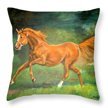 The Stallion-horse Art Painting  Throw Pillow