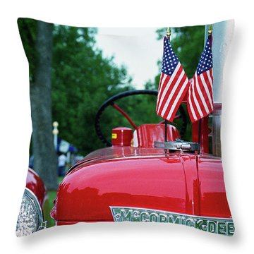 Throw Pillow featuring the photograph The Star-spangled Banner Waves by Wanda Brandon