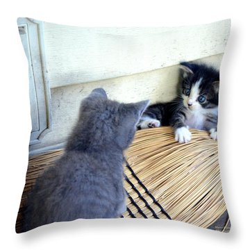 The Stare Down Throw Pillow by Maria Urso