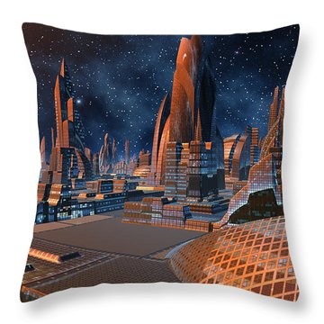 The Stars Shine Bright Over New York City Throw Pillow by Heinz G Mielke