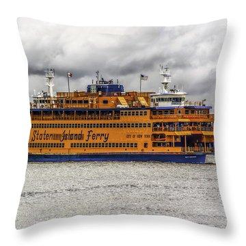 The Staten Island Ferry Throw Pillow
