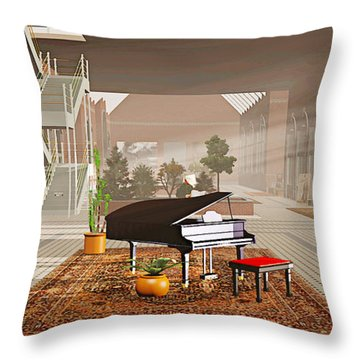 Throw Pillow featuring the painting The Station by Peter J Sucy