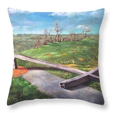Throw Pillow featuring the painting Millsfield Tennessee Steel Cross by Randol Burns