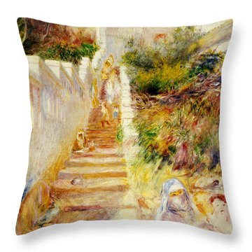 The Steps In Algiers Throw Pillow by Pierre Auguste Renoir