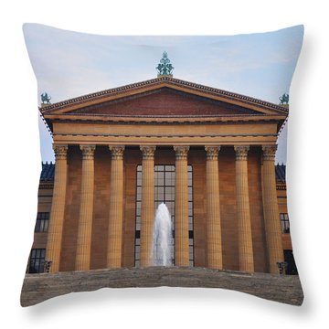 The Steps Of The Philadelphia Museum Of Art Throw Pillow by Bill Cannon