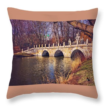Throw Pillow featuring the photograph The Stone Bridge In Lazienki Park Warsaw  by Carol Japp