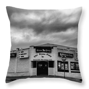 The Stone Pony Asbury Park New Jersey Black And White Throw Pillow