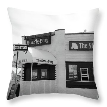 Throw Pillow featuring the photograph The Stone Pony - One Way by Colleen Kammerer