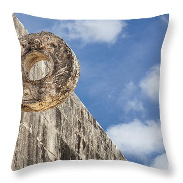 Throw Pillow featuring the photograph The Stone Ring At The Great Mayan Ball Court Of Chichen Itza by Bryan Mullennix