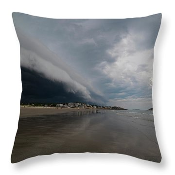 The Storm Rolling In To Good Harbor Beach Gloucester Ma Throw Pillow