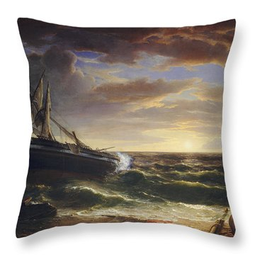 The Stranded Ship Throw Pillow