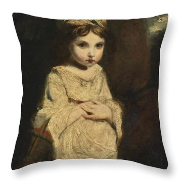 Throw Pillow featuring the painting The Strawberry Girl by Studio of Sir Joshua Reynolds