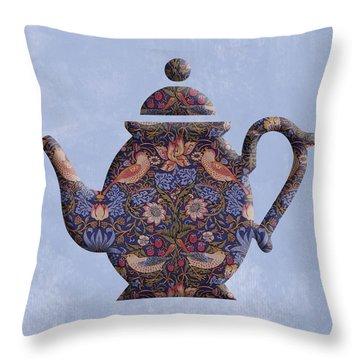 The Strawberry Thief Pattern Teapot Throw Pillow