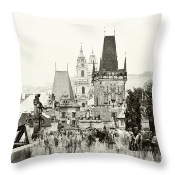 Throw Pillow featuring the photograph The Stream Of People On Charles Bridge. Prague by Jenny Rainbow