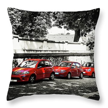 Throw Pillow featuring the photograph The Street Of Red Cars by Jenny Rainbow