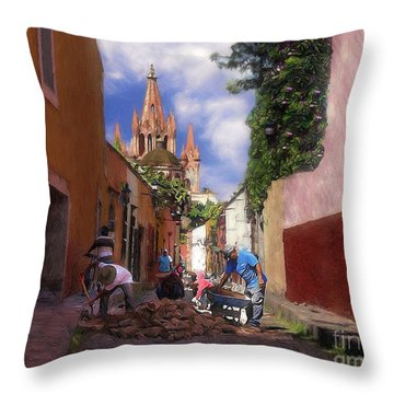 The Street Workers Throw Pillow