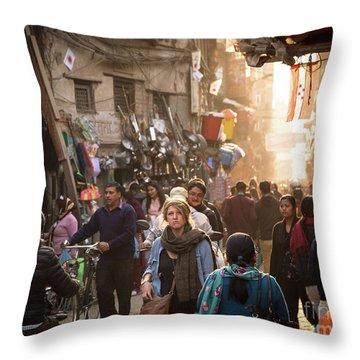 The Streets Of Kathmandu Throw Pillow