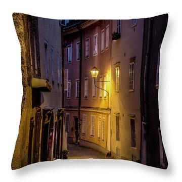 Throw Pillow featuring the photograph The Streets Of Salzburg by David Morefield