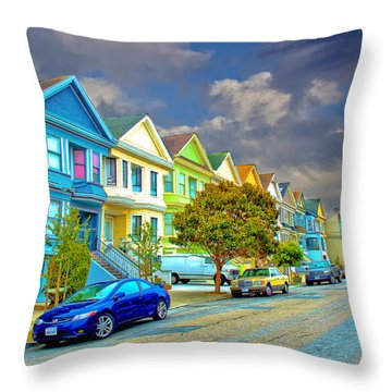 The Streets Of San Francisco Throw Pillow by Joseph Hollingsworth