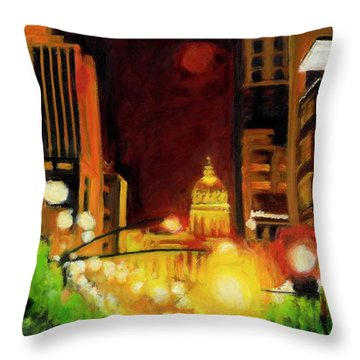 The Streets Run With Crimson And Gold Throw Pillow