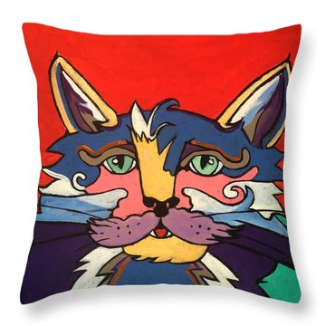 The Streetwise Old Colorful Cat Prints By Robert Erod Throw Pillow