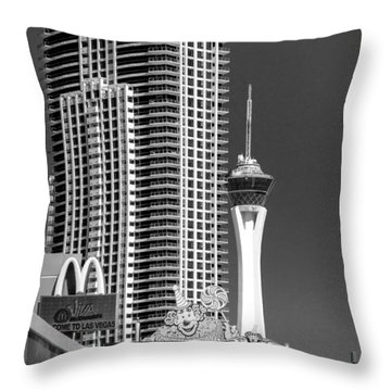 The Strip And The Stratosphere Throw Pillow