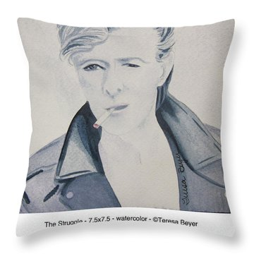 Throw Pillow featuring the painting The Struggle by Teresa Beyer