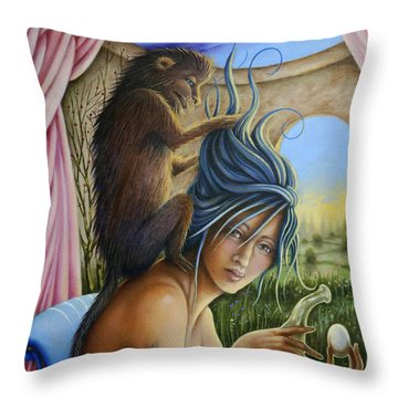 Throw Pillow featuring the painting The Stylist by Valerie White
