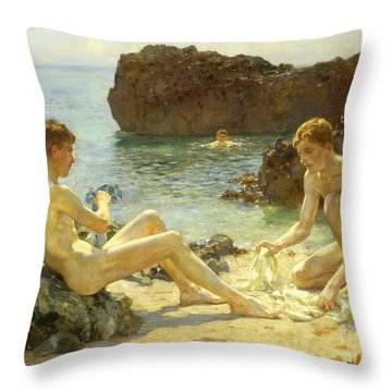 The Sun Bathers Throw Pillow by Henry Scott Tuke