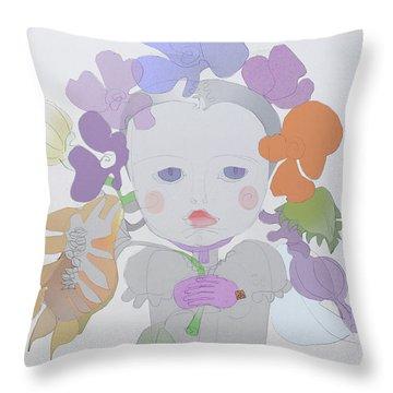 The Sun Flower Child Fairy Throw Pillow by Iordache Alice