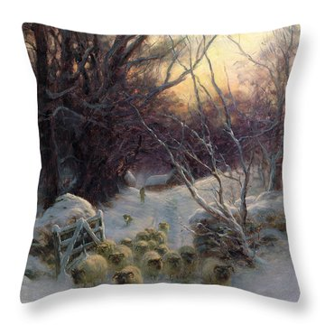 The Sun Had Closed The Winter Day Throw Pillow by Joseph Farquharson