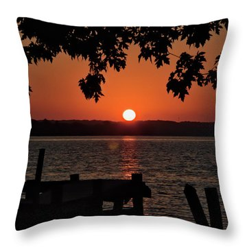 Throw Pillow featuring the photograph The Sun Rises Over The Bay by Mark Dodd