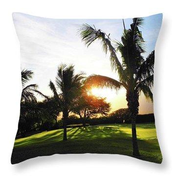The Sun Rising Behind Haleakala Throw Pillow