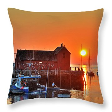 The Sun Rising By Motif Number 1 In Rockport Ma Bearskin Neck Throw Pillow