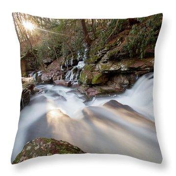 The Sun Sets On Van Campens Glen Throw Pillow