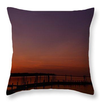 The Sun Sets Over The Water Throw Pillow by Clayton Bruster