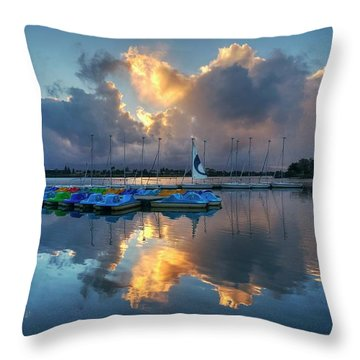 Throw Pillow featuring the photograph The Sun Settles At The Shoreline by Peter Thoeny