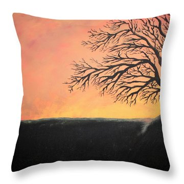 Throw Pillow featuring the painting The Sun Was Set by Antonio Romero