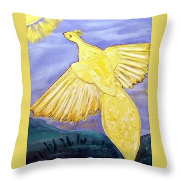 Throw Pillow featuring the painting The Sunbird by Belinda Landtroop