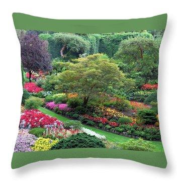The Sunken Garden At Dusk Throw Pillow